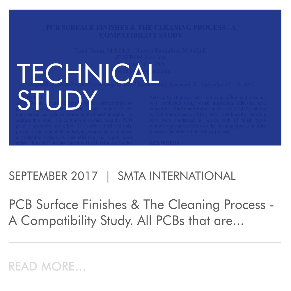 pcb surface finishes & the cleaning process - a compatibility study